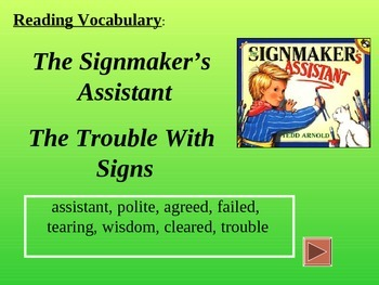 Reading Vocabulary Power Point for The Signmaker's Assistant
