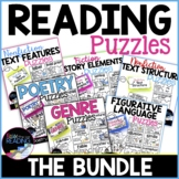 Reading Vocabulary Puzzles Bundle | Reading Comprehension Activities or Center