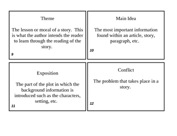 Reading Vocabulary Review Cards