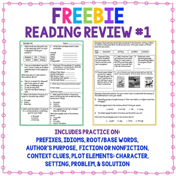 Reading & Vocabulary Spiral Review #1 Freebie