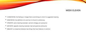 Reading Vocabulary Terms + Prefix, Suffix, Root