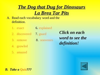 Reading Vocabulary The Dog that Dug for Dinosaurs