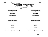 Reading Vocabulary Worksheet