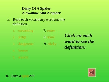 Reading Vocabulary for Diary of a Spider