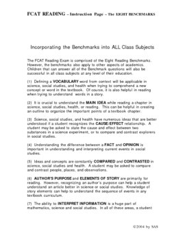 Reading: WHAT ARE THE 8 BENCHMARKS OF READING?