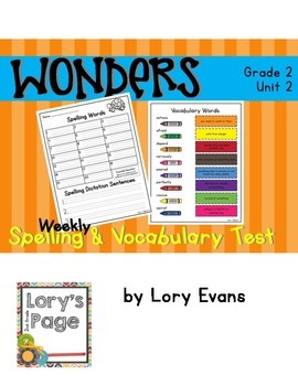 Spelling & Vocabulary Tests 2nd Grade WONDERS Unit 2