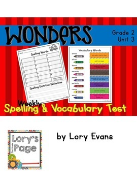 Spelling & Vocabulary Tests 2nd Grade WONDERS Unit 3