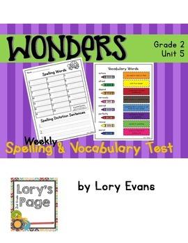 Spelling & Vocabulary Tests 2nd Grade WONDERS Unit 5