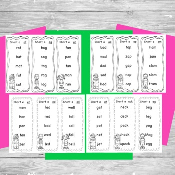 Reading Warm-Up Cards Short Vowel Word Families