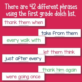 Dolch Warm Up Phrases First Grade level
