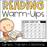 Reading Warm-Ups - Digraphs, Trigraphs, & Diphthongs *EDITABLE*