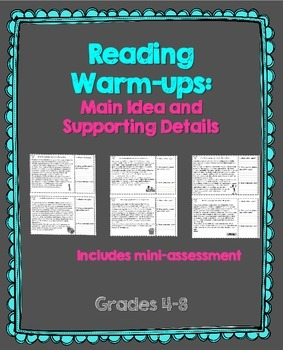 Reading Warm-Ups: Main Idea and Supporting Details