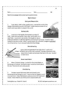 Reading Warm-ups - Blasts! #5 - Grade 4
