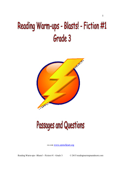 Reading Warm-ups - Blasts! Fiction #1 - Grade 3