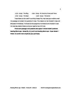 Reading Warm-ups - Blasts! Fiction #1 - Grade 3