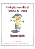 Reading Warm-ups - Blasts! - Nonfiction #1 - Grade 6 - Passages and Questions