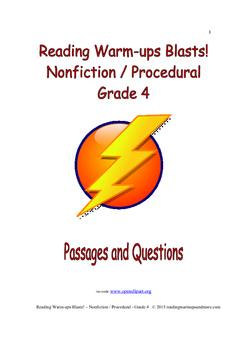 Reading Warm-ups - Blasts! Nonfiction / Procedural - Grade 4