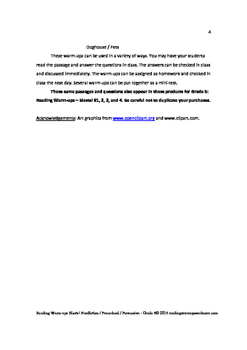 Reading Warm-ups - Blasts! Nonfiction / Procedural / Persuasive - Grade 5