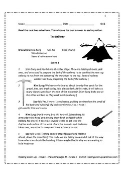 Reading Warm-ups - Blasts! - Paired Passages #2 - Passages & Questions - Grade 6