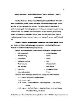 Reading Warm-ups - Blasts! Poetry / Drama / Literary Nonfiction - Grade 5