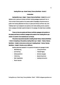 Reading Warm-ups - Blasts! Poetry /Literary Nonfiction - Grade 3