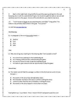 Reading Warm-ups - Super Blasts! - Fiction - Grade 6 - Passages and Questions
