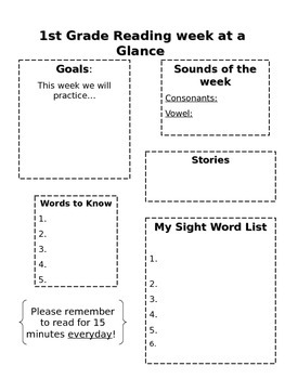 Reading Week at a Glance