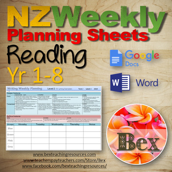 Reading Weekly Planning Sheets (New Zealand) Year 0-8