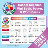 Reading With Color FREE SAMPLE: School Supplies Poster & W