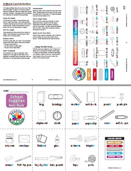 Reading With Color FREE SAMPLE: School Supplies Mini Book, Poster, & Word Cards