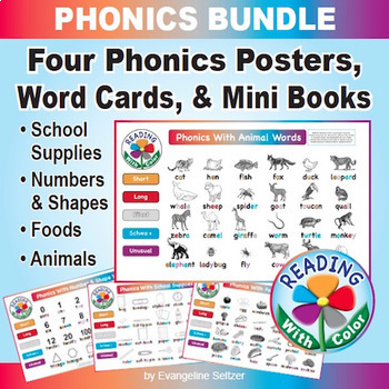 Reading With Color PHONICS BUNDLE: Four Posters, Word Cards, & Mini Books