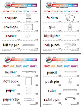 Reading With Color: School Supplies Poster, Word Cards, & Mini Book