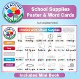 Reading With Color: School Supplies Poster, Word Cards, &
