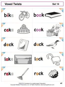 Reading With Color: Vowel Twist Cards for Phonics Intervention