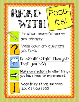 Reading With Post Its!  - A useful tool for Independent Reading!  FREEBIE!