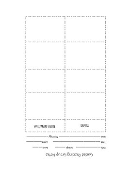 Reading With Small Group Planning Forms