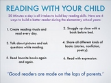 Reading With Your Child - Reading tips for parents at home, poster