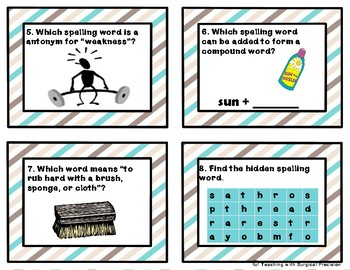 Reading Wonder Unit 2, Week 4 Spelling Task Cards