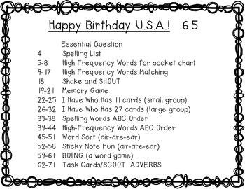 Reading Wonders 1st Grade Happy Birthday USA! 6.5 {10 Literacy Activities}