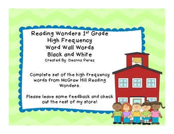 Reading Wonders 1st Grade High Frequency Word Wall Words B