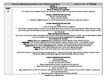 Reading Wonders 1st Grade UNIT 1 WEEK 4 Whole Group Plans