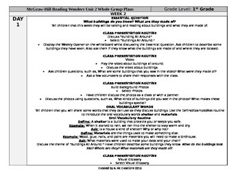 McGraw-Hill Reading Wonders 1st Grade UNIT 2 WEEK 2 Whole Group Plans