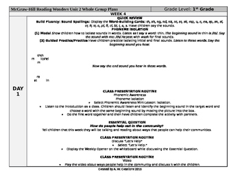 Reading Wonders 1st Grade UNIT 2 WEEK 4 Whole Group Plans