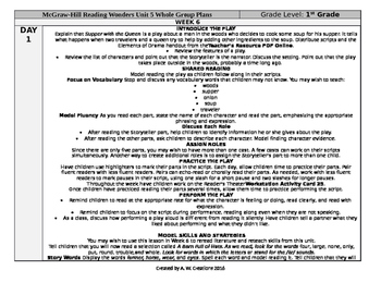 McGraw-Hill Reading Wonders 1st Grade UNIT 5 WEEK 6 Whole Group Plans