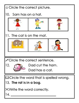 Reading Wonders 1st Grade Unit 1 Week 1 Phonics Assessment with Short a