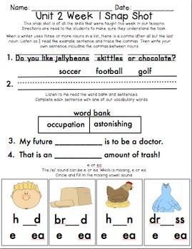 Reading Wonders 1st Grade Unit 2 Week 1 Weekly Assessment