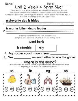 Reading Wonders 1st Grade Unit 2 Week 4 Weekly Assessment
