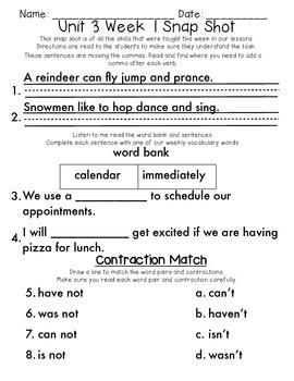 Reading Wonders 1st Grade Unit 3 Week 1 Weekly Assessment