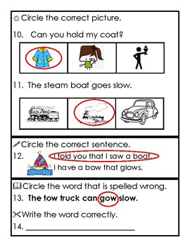 Reading Wonders 1st Grade Unit 4 Week 3 Phonics Assessment with long o: oa, ow