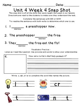 Reading Wonders 1st Grade Unit 4 Week 4 Weekly Assessment